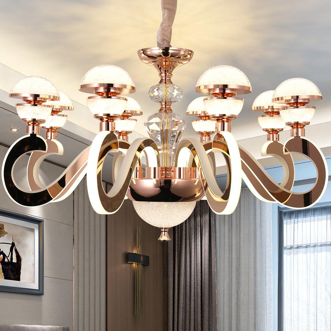 后现代简约LED吊灯客厅水晶卧室餐厅创意灯臂发光天猫精灵智能灯-欧柏图旗舰店
