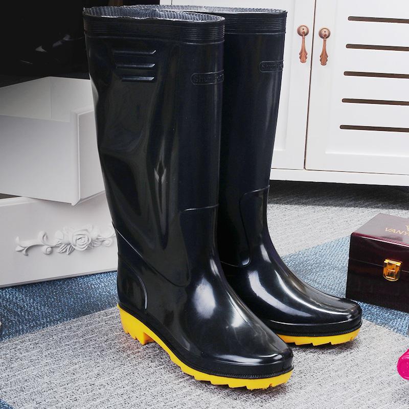 雨鞋黑色钓鱼男款工作胶鞋高筒洗车鞋单雨靴子防水鞋防滑水靴成人