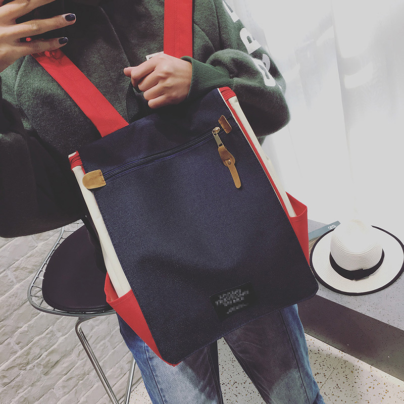 双肩包女2019新款韩版时尚校园帆布书包ins风超火大容量旅行背包满39元减10元