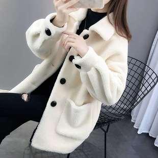 仿羊羔绒秋冬洋气开衫2020年新款时尚宽松女装颗粒绒加厚上衣外套