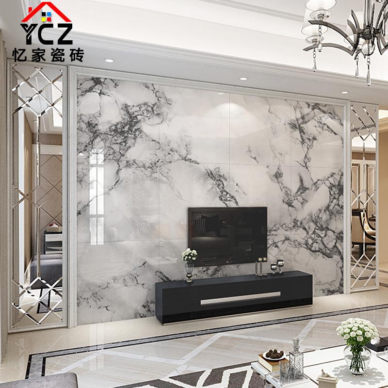 现代简约黑白水墨瓷砖背景墙仿大理石电视背景墙微晶石护墙板定制