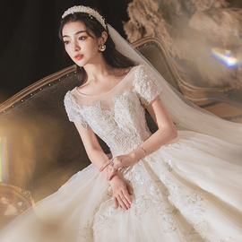 主婚纱礼服2020新款新娘拖尾气质森系超仙梦幻孕妇遮粗手臂小个子