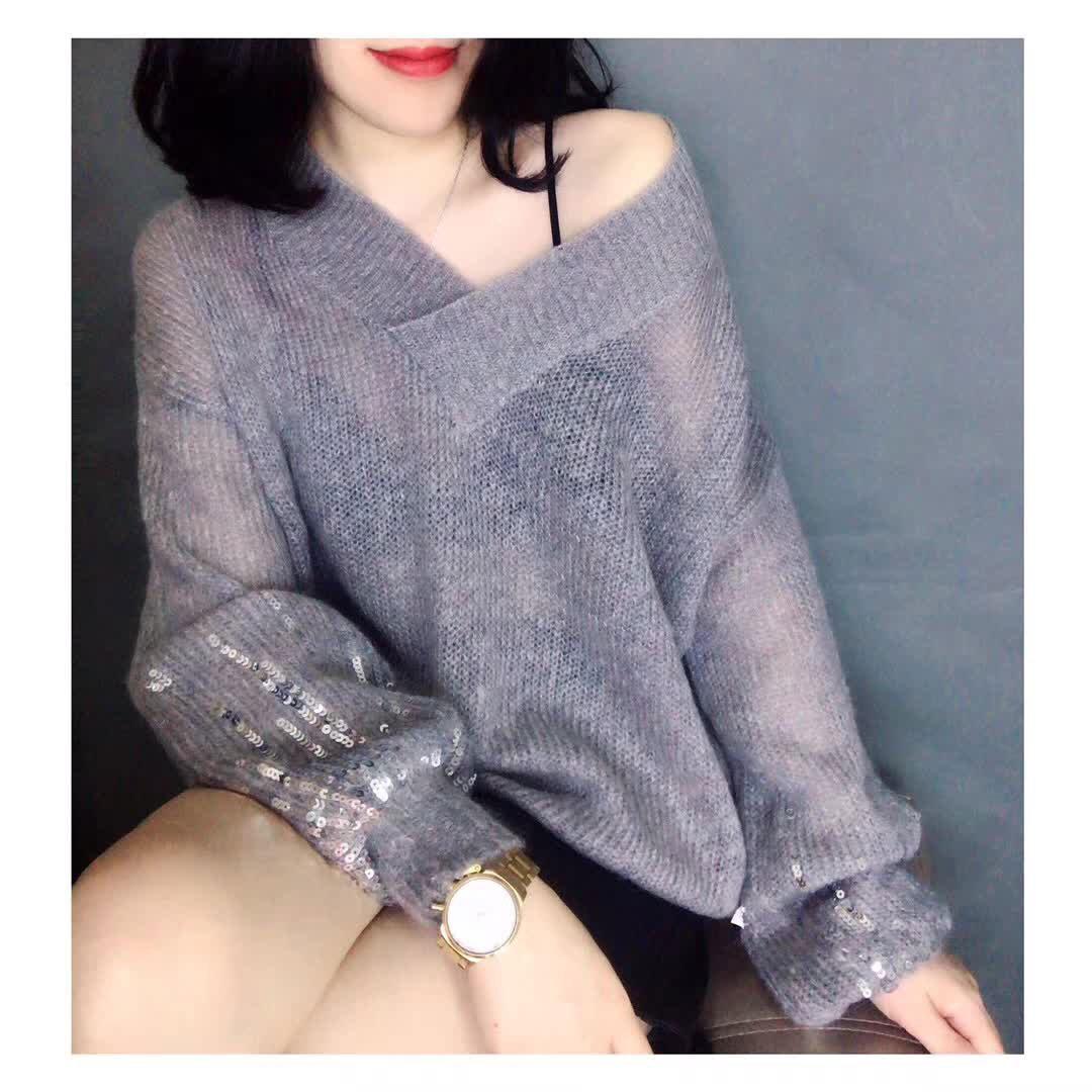 慵懒风毛衣女2018秋冬新款马海毛套头宽松亮片网红灯笼袖针织衫