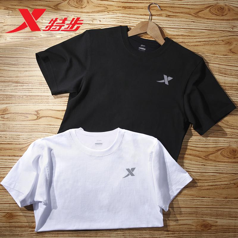 特步短袖t恤男夏季速干透气白色半袖T男士上衣体恤运动服健身男装