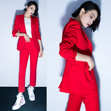 红色OLmo1业套装女ng时尚帅气西装(小)外套西服裤两件套新式潮