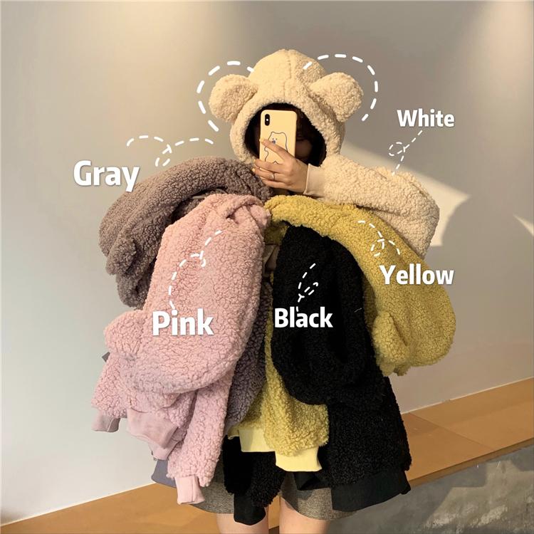官图300克仿羊羔绒可爱小熊耳朵仿羊羔毛宽松长袖卫衣女-小柠檬-