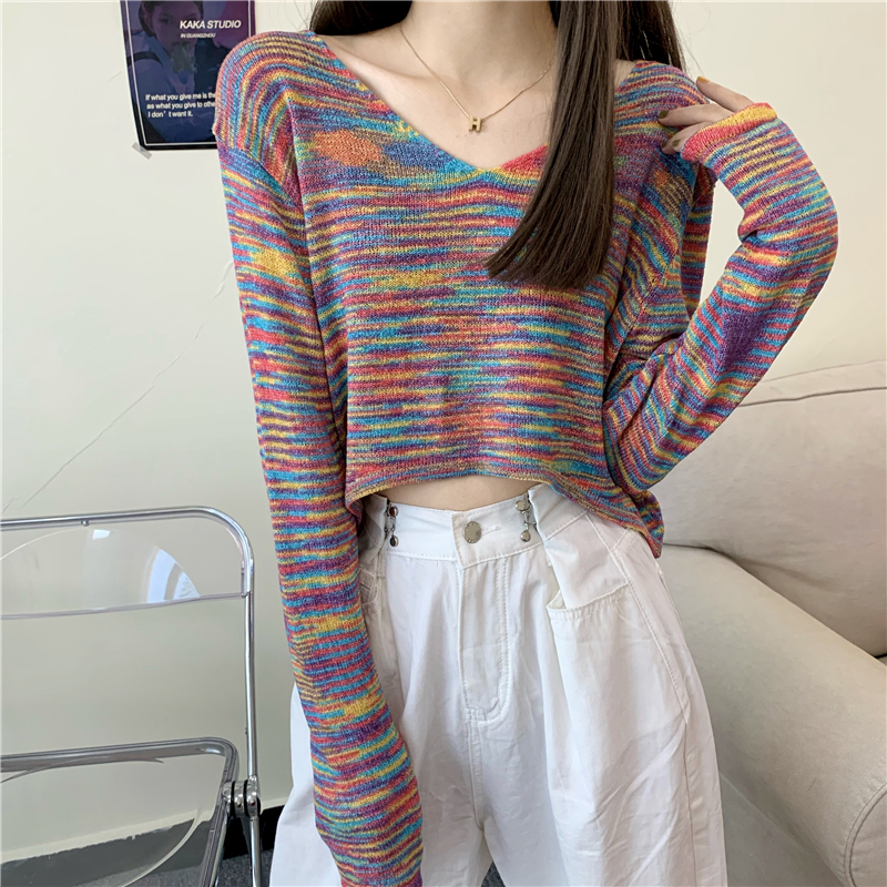 甜美性感2020秋季新款超火彩虹条V领短款露脐长袖针织衫上衣女潮 -