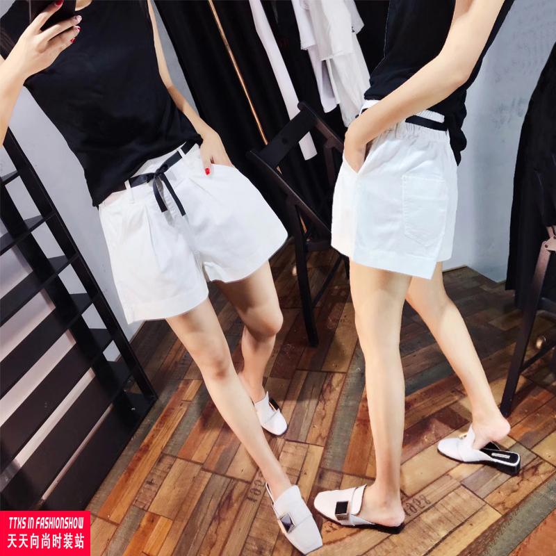 牛仔短裤女夏2019新款白色韩版高腰显瘦休闲短裤宽松A字阔腿热裤