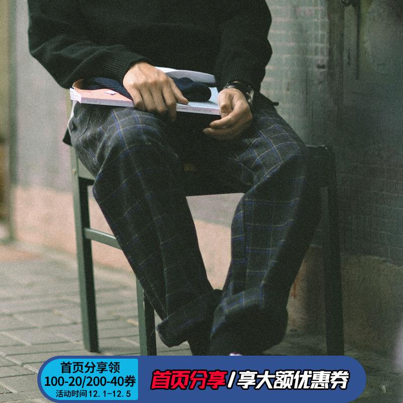 PSO Brand 潮牌男装 可束脚式 厚款格子宽松休闲运动裤子男秋冬季