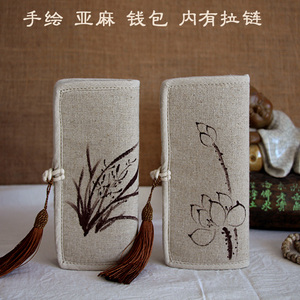 Every day special offer hand-painted Chinese style women bag cotton and linen wallet linen bag long wallet