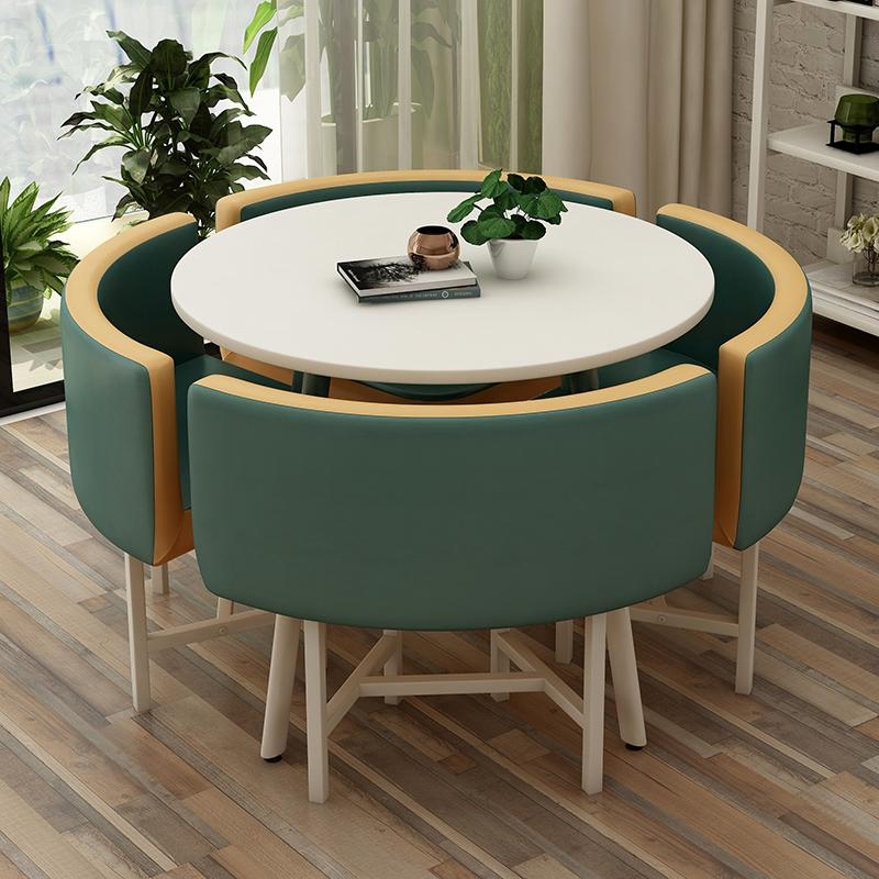 北欧简约接待桌椅组合洽谈桌椅店铺会客桌椅办公室休闲小圆桌木桌