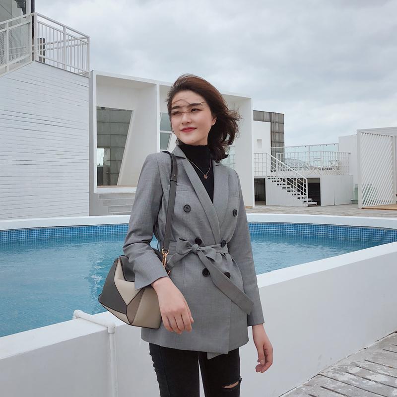 西装女外套2018秋英伦修身气质收腰系带韩版夹克双排扣灰色小西服