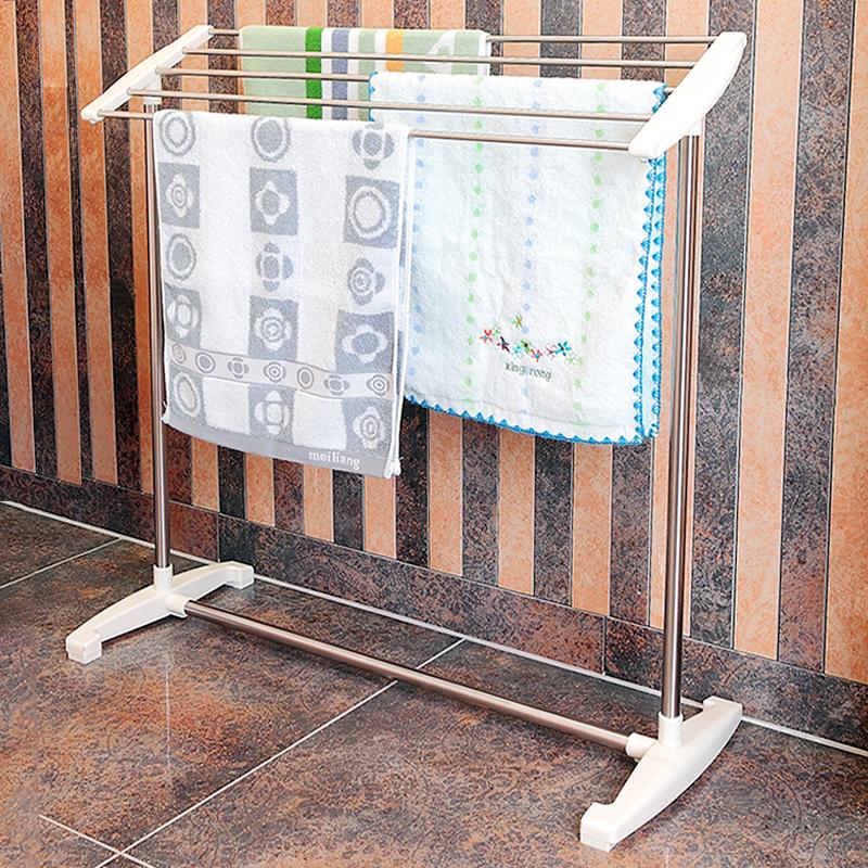 圣华盾毛巾架落地式浴室不锈钢免打孔小型浴巾架卫生间晾挂毛巾杆