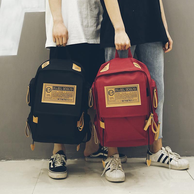双肩包男韩版原宿ulzzang 高中学生书包女校园大容量旅行包潮背包