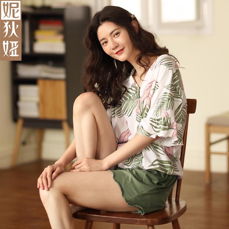 ins睡衣女士夏季纯棉短袖短裤性感时尚套头休闲v领薄款家居服套装