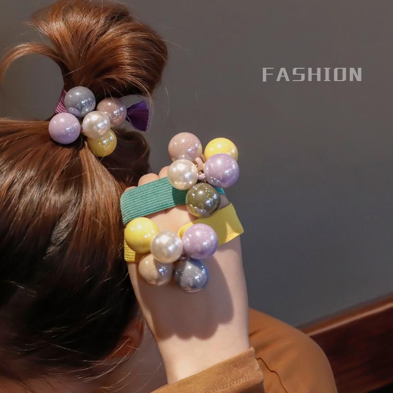 韩国简约彩色球球发圈丸子头皮筋发绳网红头饰品成人扎头发头绳女