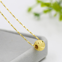 彩金项链女正品925纯银镀pd108k黄yh骨链子转运珠吊坠不掉色