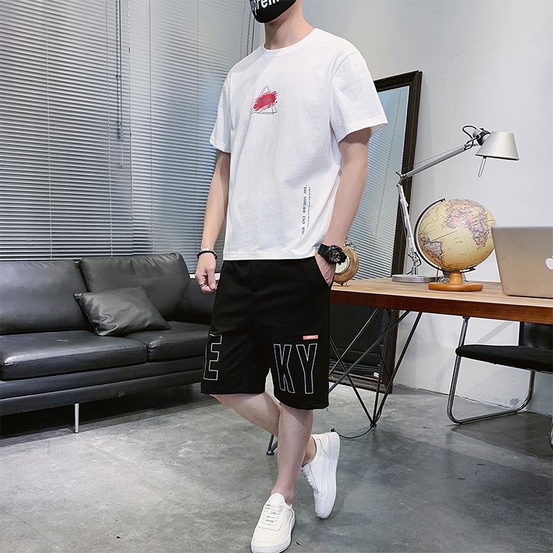短裤套装男五分运动裤夏季薄款韩版潮流宽松沙滩裤短袖t恤两件套 -