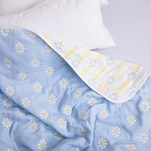 Six-layer cotton towel covered with summer gauze, cotton thin office nap air conditioner blanket, double blanket