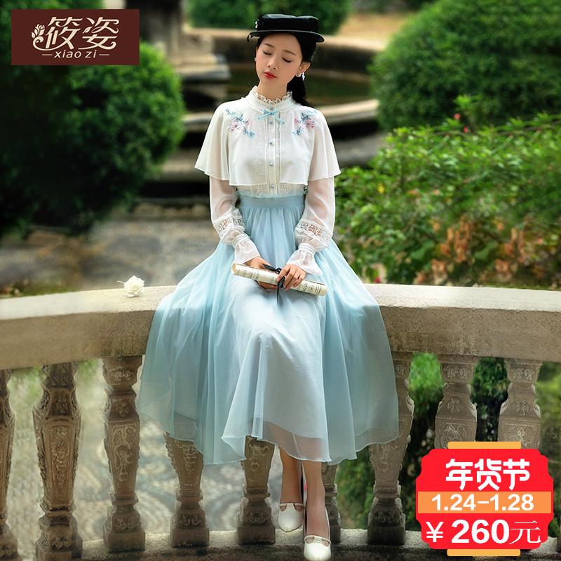 筱姿如梦伊人2018春季新款女装复古绣花连衣裙假两件长袖雪纺裙子