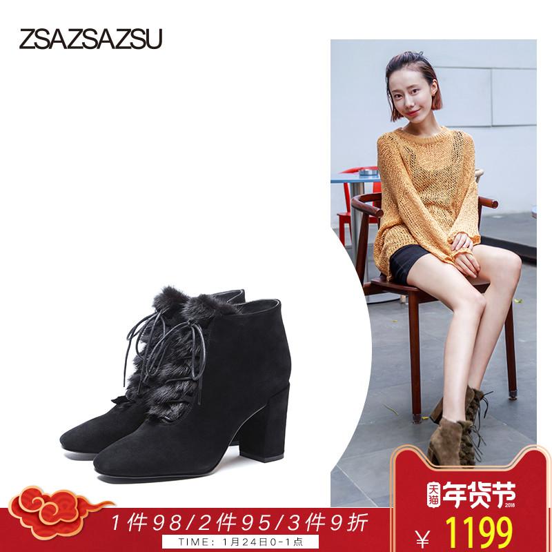莎莎苏女鞋时尚貂毛短靴 高跟方头短靴女粗跟绑带短靴ZA87588-11
