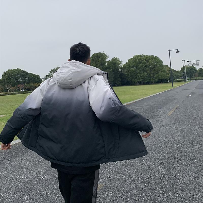 2019新款日系复古外套男冬季连帽棉服男士宽松渐变色加厚保暖棉衣