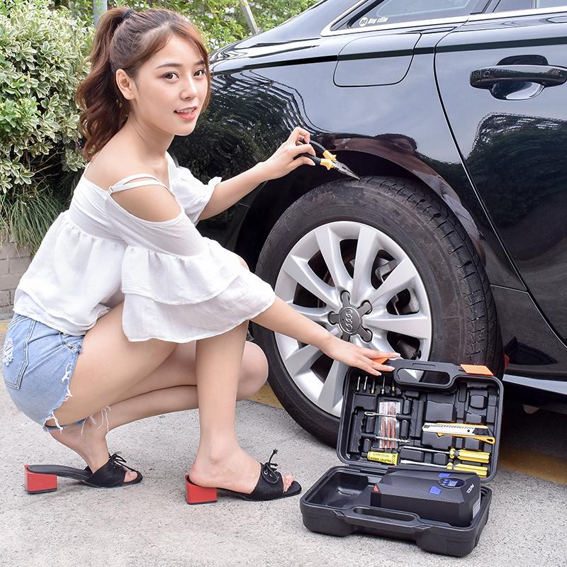 车载充气泵汽车用便携式小轿车电动轮胎家用12v加气泵小车打气筒