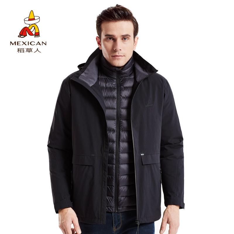 稻草人 户外男士秋冬季冲锋衣 三合一两件套羽绒内胆防寒登山服