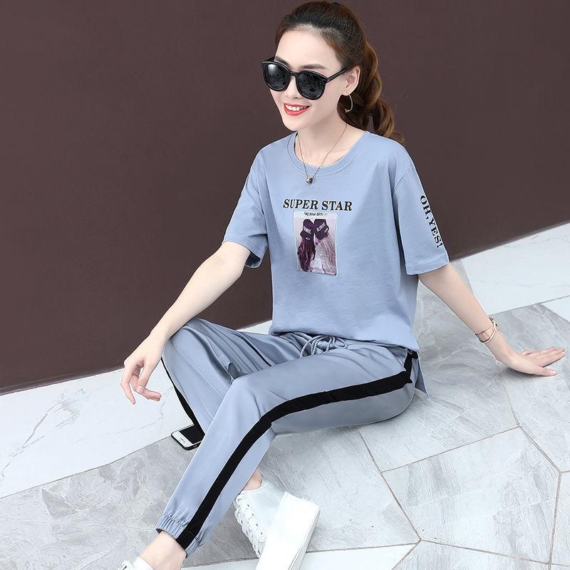 含棉t 2019夏季新款女装时尚韩版宽松运动套装女长裤短袖两件