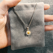 JG small Daisy Necklace female fashion collarbone chain simple forest 925 pure silver fresh wind net red personality niche design