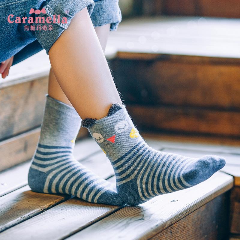 caramella儿童袜子纯棉多彩亲子袜秋冬宝宝可爱卡通中筒袜中大童