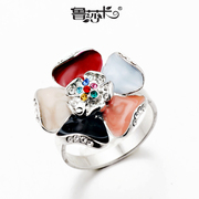 Rusa card Flash original fine jewelry color enamel flower ring