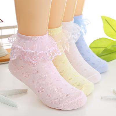 儿童袜子春秋蕾丝花边女童袜夏舞蹈透气薄款网眼学生短袜6双包邮 拍下2.99元包邮