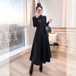 御姐范女套装气质轻熟风2020年新款秋装长裙洋气炸街赫本风两件套