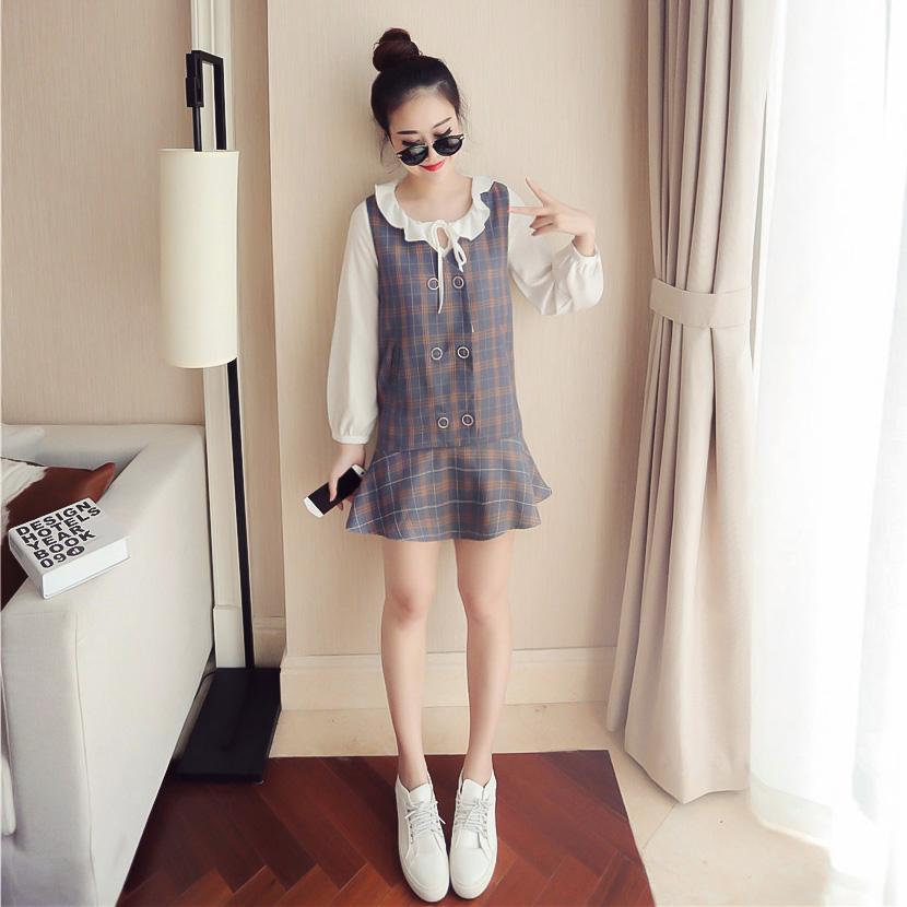 秋季新款韩版木耳边系带雪纺衬衫格子荷叶边连衣裙两件套女装U122