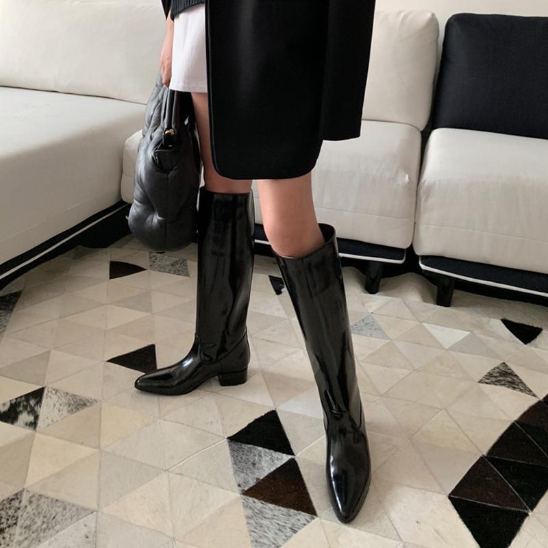 鞋大师阿希哥同款鞋漆皮骑士靴女高筒靴长筒靴尖头长靴不过膝马靴满299元减10元