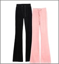 新款天鹅绒显ql3女裤微喇18叭瑜伽裤黑色加长裤多色可选旅游