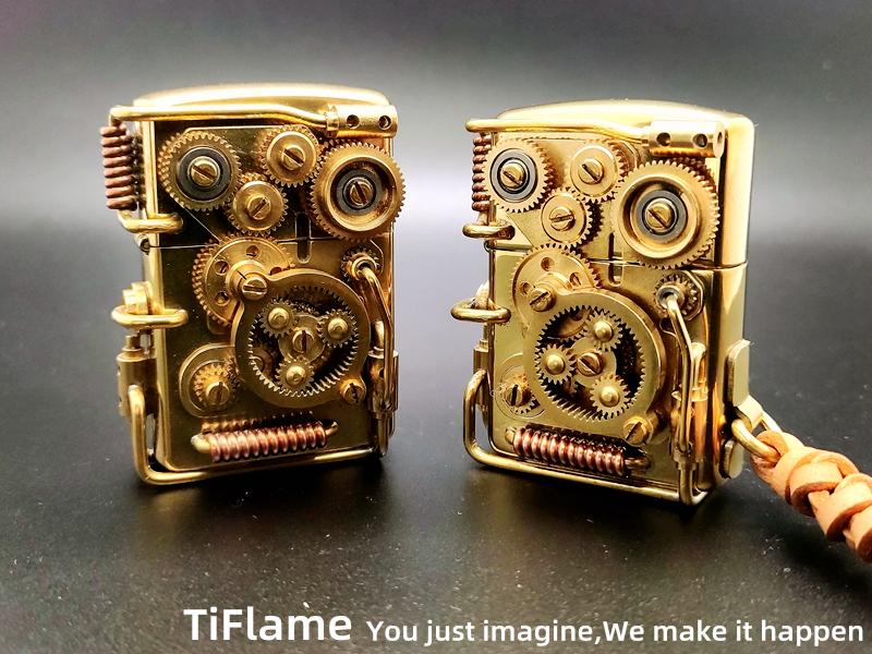 Zippo/TiFlame手工创意个性复古蒸汽朋克机械12轮联动煤油打火机