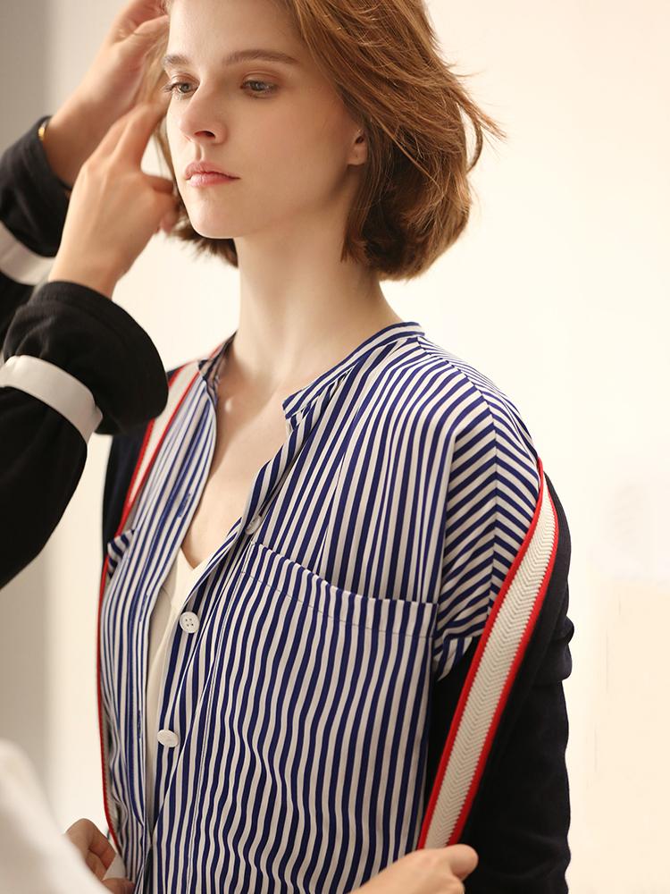 小虫 桑蚕丝 竖条纹宽松显瘦圆领系带短袖衬衫连衣裙 TE8CLY031