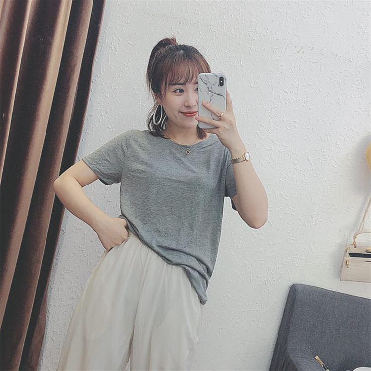 白色短袖t恤女2019夏季网红新款ins纯色潮打底黑色宽松款大码显瘦