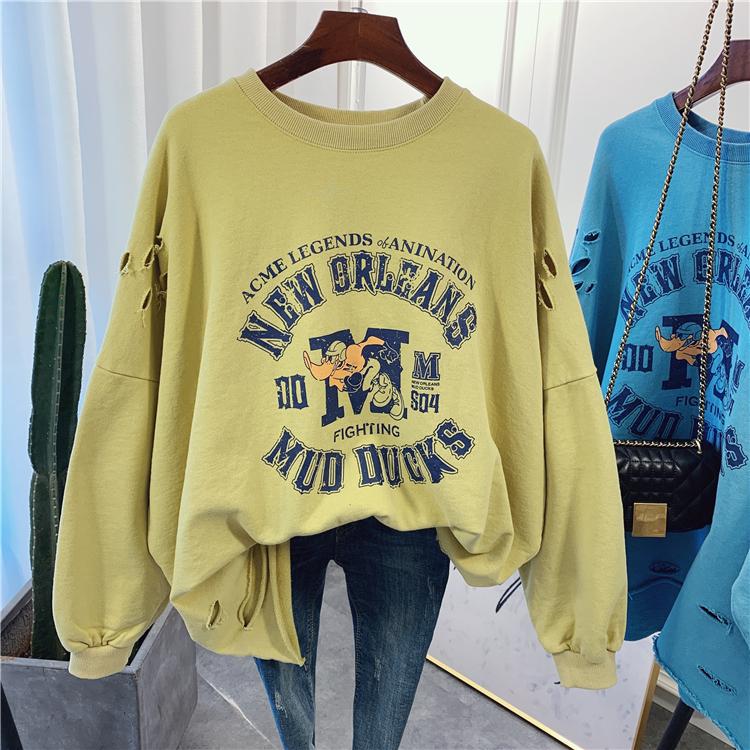 春秋新款韩国大码女装加大码卡通鸭子图案字母印花休闲卫衣女上衣