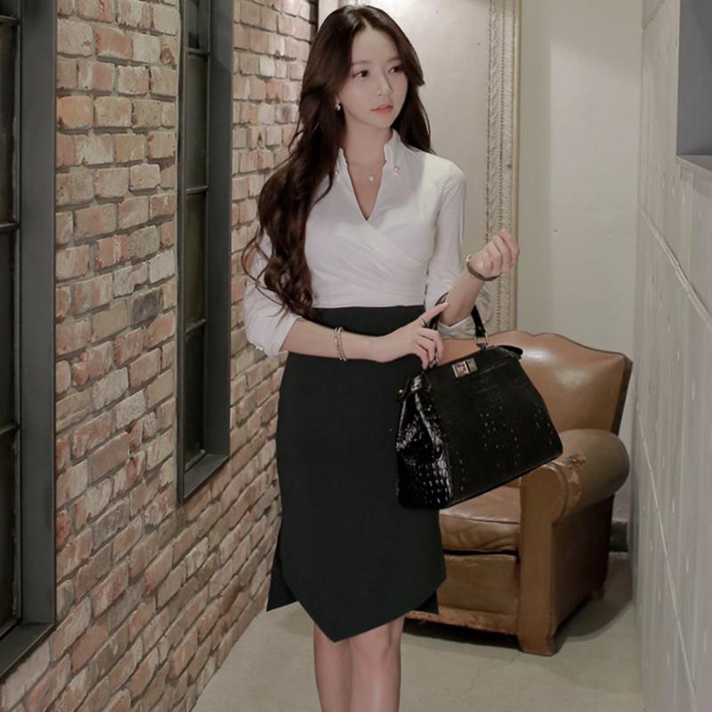 659 2020春装新款韩版东大门职业通勤OL修身显瘦不规则拼接连衣裙 -