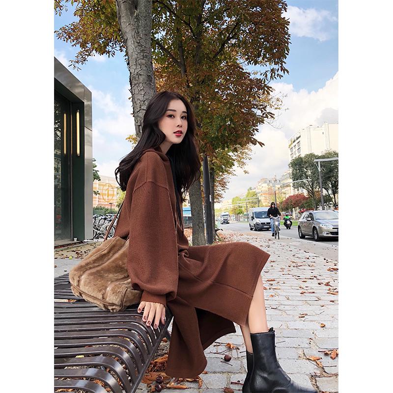 林珊珊 2017秋装新款韩版长袖学院连帽抽绳中长款卫衣女连衣裙子