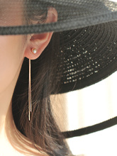 超仙气ww0天然珍珠ou银925银玫瑰金长式流苏耳环蚊香盘耳夹