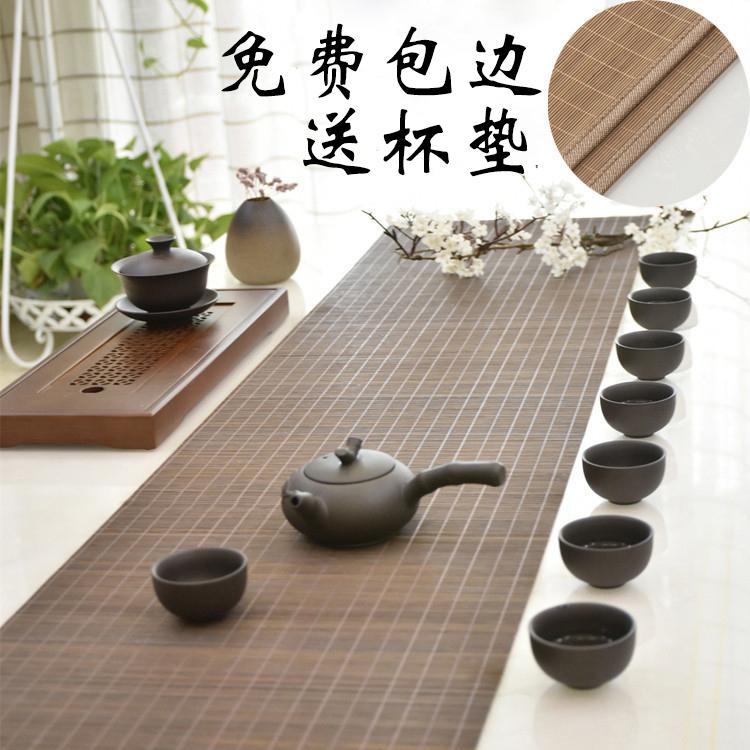 竹子茶席竹席茶帘中式禅意桌旗隔热茶垫餐垫功夫茶道超长竹垫定制