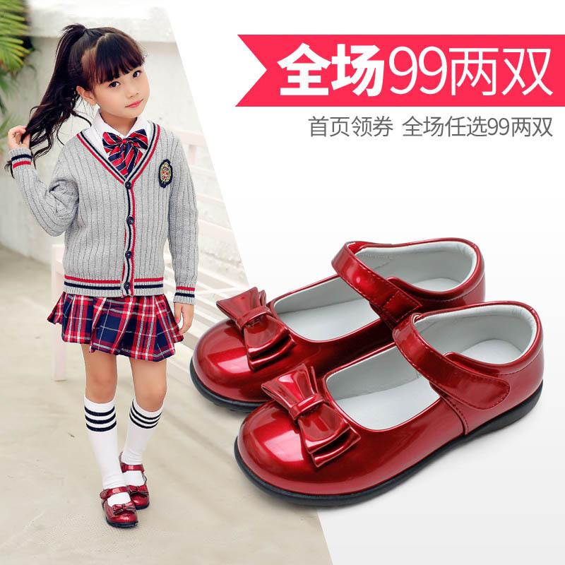 卡卡树女童皮鞋春秋新款儿童黑色公主鞋女孩单鞋红色小学生小皮鞋