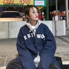 韩国棒球衬衫短外套2021新款秋yu13男女棒ke装衬衣外搭上衣