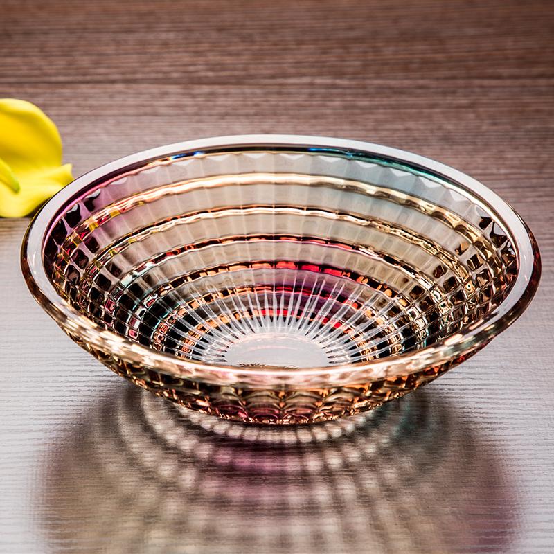水果盘大号琉璃色水晶玻璃果盆欧式现代创意客厅家用干果糖果盘子