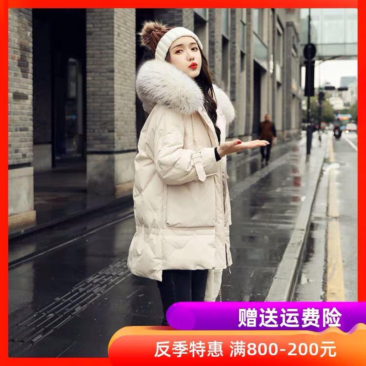 羽绒服女短款韩版小个子面包服2019新款冬装潮真毛领时尚宽松外套