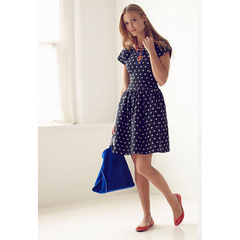 Retro polka dot Hepburn wind waves in Europe and America even sleeve polka dot short sleeve boat neck dress